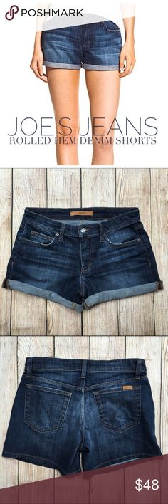 """{Joe's Jeans} Rolled Hem Emmie Denim Jean Shorts BRAND:JOE'S JEANS ITEM:Rolled Hem Denim Jean Shorts {Emmie Wash} FABRIC:98% Cotton, 2% Elastane SIZE:26 CONDITION:Pre-Owned/EUC  MEASUREMENTS Waist: 14.5"""" Inseam: 4.5"""" {uncuffed} Rise: 8""""  PLEASE NOTE: Measurements are approximate and taken while item is laying flat  ALL ITEMS SHIP FROM SMOKE FREE HOME. NO Trades. NO Holds. NO PayPal. NO Lowball Offers. Offer Button Only. Joe's Jeans Shorts Jean Shorts"""