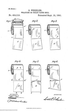 20 free vintage printable blueprints and diagrams remodelaholic inventor seth wheeler drew it with the toilet paper going up and over the roll malvernweather Images