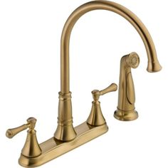 Delta Cassidy Double Handle Deck Mounted Kitchen Faucet with Spray Finish: Brilliance Champagne Bronze