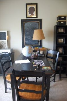 recreating in my kitchen for homeschooling. Already have identical table. Need large chalkboard and silhouette frames of my kids
