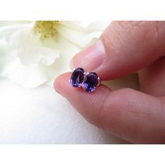 Amethyst studs, Sterling Silver earrings, Semi precious gemstone... via Polyvore featuring jewelry and earrings