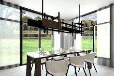 Plan de Maison Moderne Ë_140 | Leguë Architecture House Plans, Conference Room, Dining Table, How To Plan, Architecture, Design, Furniture, Home Decor, Houses