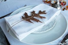 use leaves on a Fall tablescape