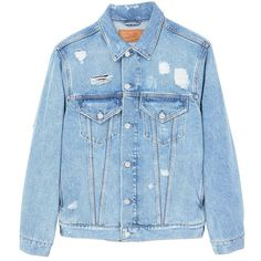 Decorative Rips Denim Jacket (€57) ❤ liked on Polyvore featuring outerwear, jackets, long sleeve jacket, blue jackets, embellished jacket, blue jean jacket and jean jacket
