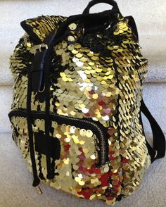 NWT VICTORIA'S SECRET Pink GOLD SEQUIN BACKPACK BAG PURSE