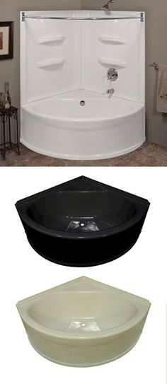 Best Ideas for corner bathtub remodel small baths Corner Bathtub Shower, Corner Tub, Tub Shower Combo, Shower Tub, Bathroom Tubs, Master Bathroom, Bathroom Inspo, Bathroom Ideas, Home Depot