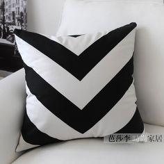 """V"" Chevron Pillowcase Strip Cushion Cover Black White Cotton Pillow Printing Cushion Sofa Throw Pillow Home Decoration Gift"