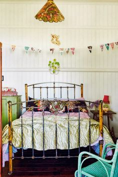 bedding and vintage bed