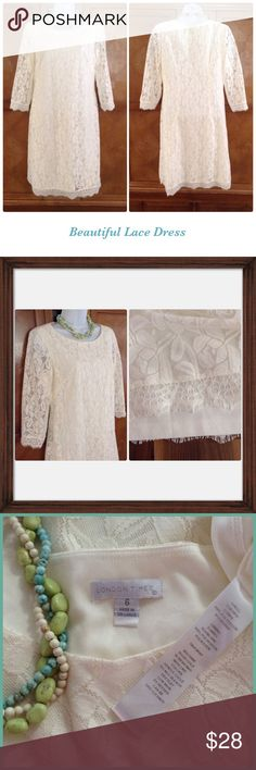 """Beautiful Lace Dress London Times Lace dress. Cream color has lace layer and connected slip layer. Measurements: Length=35 1/2"""". Waist=17"""". Bust=18 1/2"""". London Times Dresses"""