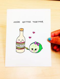 Funny love Card, Cute love card, Drinking humor, We're better together, funny anniversary card, tequila and lime, card for boyfriend by LoveNCreativity