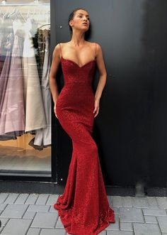 826a0ca8995 Custom Made Popular Red Mermaid Prom Dresses Spaghetti Straps Sexy Red  Sequin Prom Dress Mermaid. Rei Germar · JUMPSUIT & DRESS