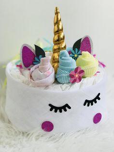 Baby shower Unicorn Diaper Cake #unicorndiapercake / meisjes Unicorn Luiertaart