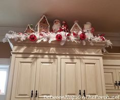 A Peppermint-Candy Fantasy Table & Kitchen – Between Naps on the Porch – Christmas Ideas Gingerbread Christmas Decor, Gingerbread Decorations, Christmas Room, Outdoor Christmas Decorations, Christmas Projects, Christmas Themes, White Christmas, Christmas Ornaments, Christmas Villages