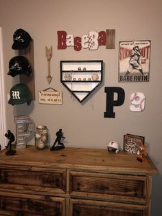 Homemade home plate ring and ball display. Most decor purchased at Hobby Lobby. Homemade home plate ring and ball display. Most decor purchased at Hobby Lobby.