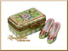 Limoges Floral Shoe box with pair of shoes