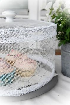 DIY Cake Stand Cover. Chicken wire  lace  tulle. Cute, easy, and it keeps mosquitoes and flies away!