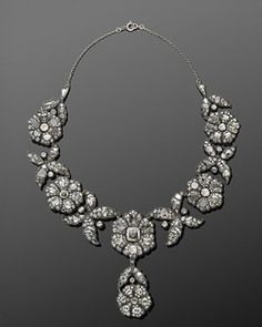 Antique Rose Cut Diamond Floral Clusters Convertible Necklace Tiara, circa 1880