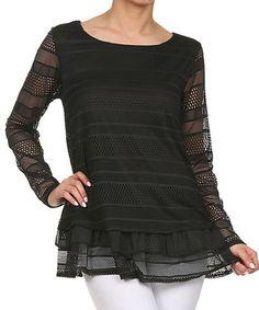 Black Crochet Stripe Peplum Tunic #zulily #zulilyfinds