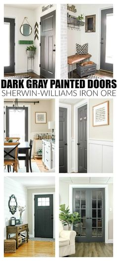 The Power of Paint: Dark Painted Interior French Doors, Home Decor, The Power of Paint: Dark Painted Interior Doors. Painted Interior Doors, Painted Doors, Interior Painting, Wood Doors, Dark Interior Doors, Grey Interior Paint, Mdf Doors, Painted Bedroom Doors, Farmhouse Interior Doors