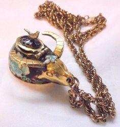 Vintage Cloisonne Water Buffalo Box Pendant with Chain by bitzofglitz4u on Etsy