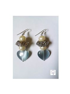 Grey Agate Love Heart and Cream Bead Earrings - British (UK) Handmade Jewellery Design  - £25.00