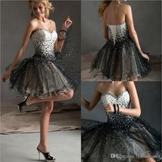 Wholesale Sweet Ball Gown Homecoming Dresses Full Beaded Sparkly Short Homecoming Dresses Black Prom Dresses Under 100 2015 Cheap In Stock, Free shipping, $73.3/Piece | DHgate Mobile