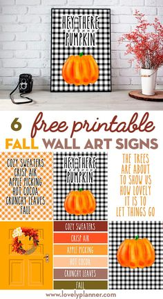 Set of 6 FREE Printable Fall Wall Art Signs to decorate your home. Set of 6 FREE printable Fall Wall Art Signs to decorate your home this season: mix and match these signs to create a unique fall decor. Autumn Art, Autumn Leaves, Fall Signs, Fall Diy, Fall Home Decor, Holiday Decor, Fall Harvest, Printable Wall Art, Printable Lables
