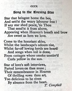 Thomas Campbell, Song to the Evening Star. 💞🌍🌎🌏💞