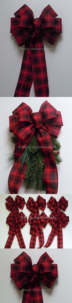 Red Black Plaid Bow Rustic Country Wreath Bow Red Black Tartan Bow Country Wedding Bow Cabin Plaid Christmas Tree Bow
