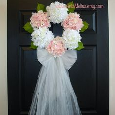 wedding First Communion hydrangeas wreath spring wreaths summer wreath pink wreaths bridal shower wreath for front door decor home decor elegant large WREATH SIZE: 6 FLOWERS: approximate 20-21 across, deep 6 bow and veil (optionally): 30 long or, 55 long (reach to the bottom of the door).