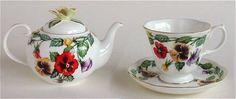Royal Stratford Teapot and Tea Cup Pansy