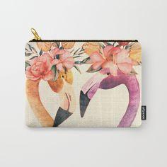 Flamingos II Carry-All Pouch by Kamina22 | Society6