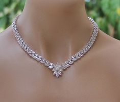 Crystal bridal necklace, crystal necklace, crystal bridal necklace, crystal bridal jewelry, w Rose Gold Bridal Jewelry, Wedding Jewelry, Crystal Jewelry, Wedding Necklaces, Topaz Jewelry, Swarovski Crystal Necklace, Silver Jewelry, Modern Jewelry, Fine Jewelry