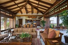 luxury interior design photos by roger wade, polynesian great room with wall doors and view to pacific, private residence, kailua-kona, hawaii, by mclaughlin & associates architects