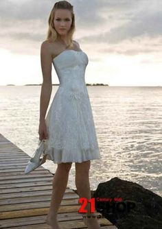 White Sundresses For Wedding Online Organza Strapless A Line Short Style Beach Gown Wh