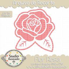 Rose Flower, Flor Rosa, Folhas, Leaves, Garden, Jardim, Spring, Primavera, Season, Temporada, Corte Regular, Regular Cut, Silhouette, DXF, SVG, PNG