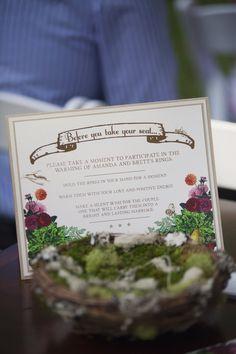 "Ring warming sign, custom ceremony sign by Dogwood Blossom Stationery. Amanda and Brett's Backyard ""Farmer's Market"" Wedding"