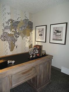 Office / den with a travel theme #traveltheme