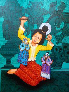 Burmese puppets on a string. Myanmar Travel, Thai Art, Bagan, Buddhist Art, Burmese, Puppets, Art History, Buddha, Art Drawings