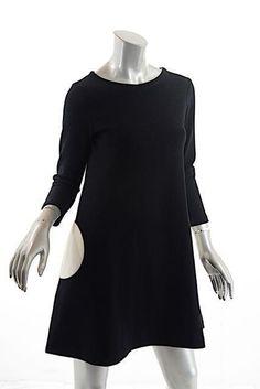 LISA PERRY Black 100% Wool Knit A-Line Dress w/White Circle Pockets - FUN - US6…