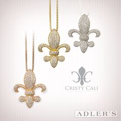 Cristy Cali Sterling Silver Stella Fleur de Lys Pendant. Micro pave setting Fleur de Lys design with genuine Swarovski crystals, each set by hand. Dimensions are 29mm tall by 25mm wide.  Available in Sterling Silver, Gold Plate & Rose Gold Plate. $195.00 each