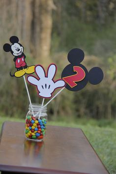 MIckey Mouse Centerpieces by LindseysPartyPantry on Etsy, $15.00