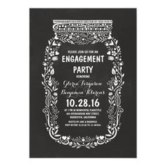 Chalkboard mason jar rustic engagement party card