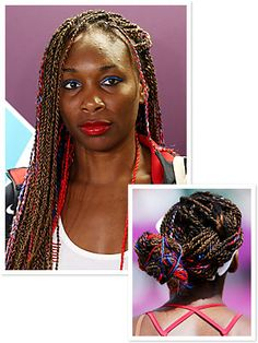 Tennis star Venus Williams is making her way to the Olympics finals with an extra dose of Team USA spirit in her hair, red and blue strands twisted into her long braids. http://news.instyle.com/2012/08/01/olympics-2012-venus-williams-braids/#