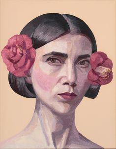 Self-portrait with Camellias  oil and acrylic on linen  35.8cm x 28.2cm 2016 Doug Moran National Portrait Prize finalist