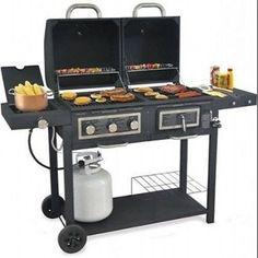 Outdoor Dual Gas Charcoal Grill Burner Combo Backyard Garden Cooking BBG Smoker #BackyardGrill
