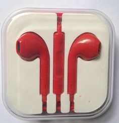 iPhone 5 5S 5C Headphones Earpods Handsfree with Mic and Volume Controller Red