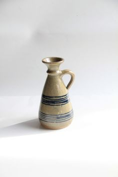 Vintage Handmade Ceramic Simple Blue Striped Pitcher Vase