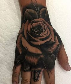 Discover recipes, home ideas, style inspiration and other ideas to try. Hand And Finger Tattoos, Full Hand Tattoo, Rose Hand Tattoo, Hand Tattoos For Guys, Hand Tats, Torso Tattoos, Arm Sleeve Tattoos, Dope Tattoos, Body Art Tattoos