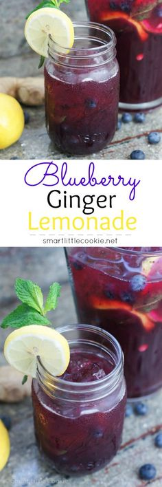 Blueberry Ginger Lemonade looks delicious! Refreshing Drinks, Summer Drinks, Fun Drinks, Healthy Drinks, Beverages, Summertime Drinks, Blueberry Recipes, Smoothie Drinks, Protein Smoothies